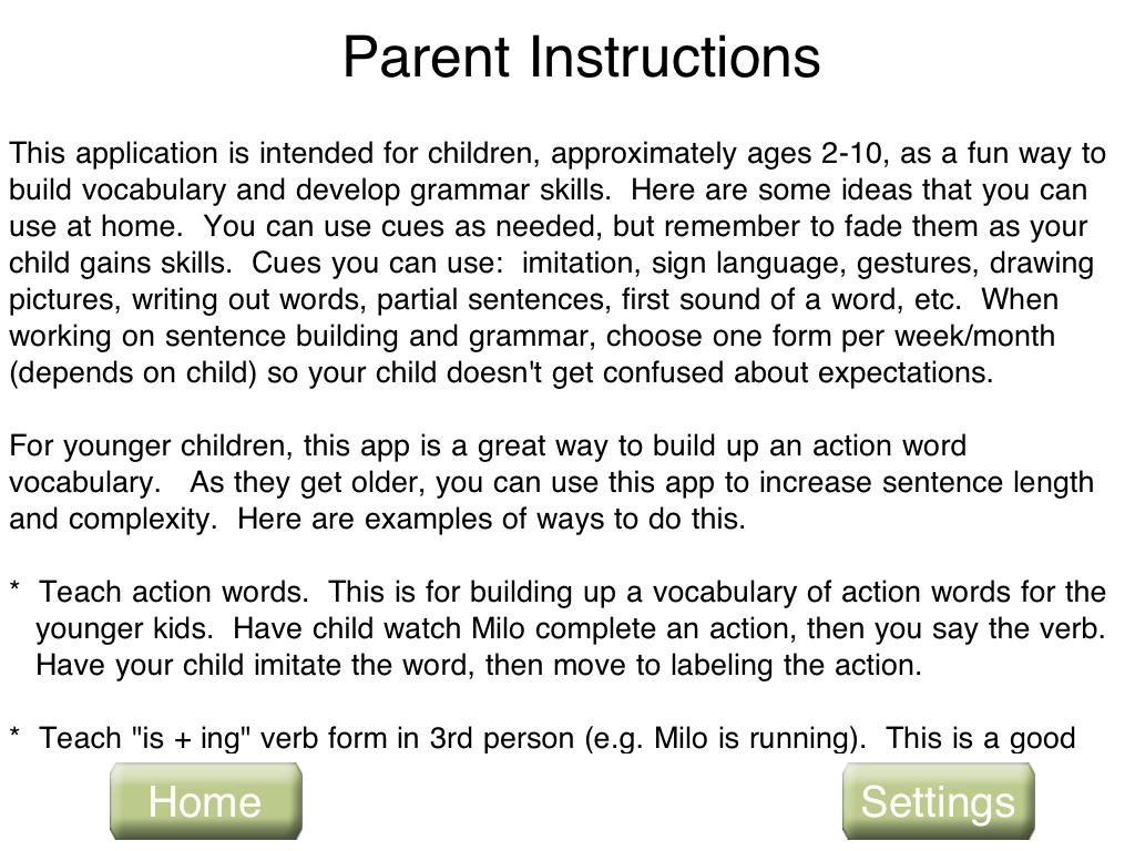 consonantly speaking abcs slps a is for apps action words speech milo parent instructions