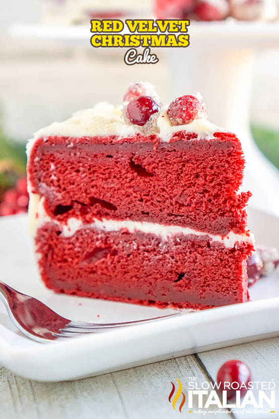 Title text (a slice shown on a plate): Red Velvet Christmas Cake