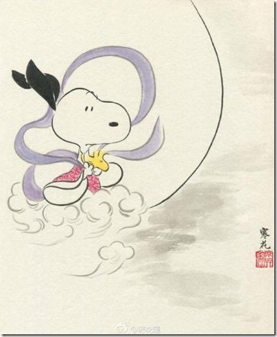 Peanuts X China Chic by froidrosarouge 花生漫畫 中國風 by寒花 Snoopy X Mid Autumn 中秋節 3