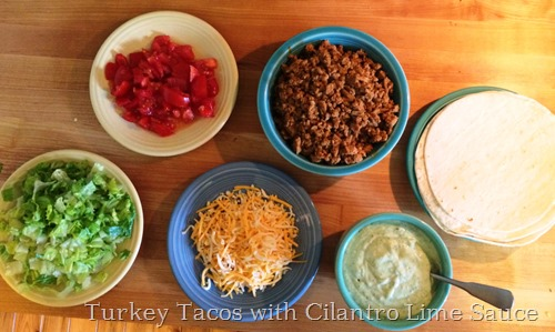Turkey Tacos with Cilantro Lime Sauce