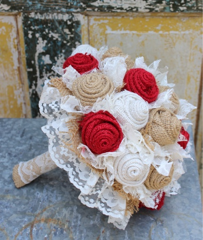 rustic bridal bouquet with red roses and ivory lace