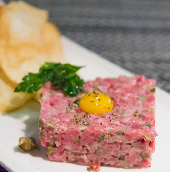 photo of Stake Tartar, Potato Chips, Quail Egg, Capers