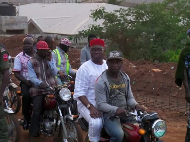 Ekiti Gov Fayose Spotted On Bike Today Inspecting Contracts image
