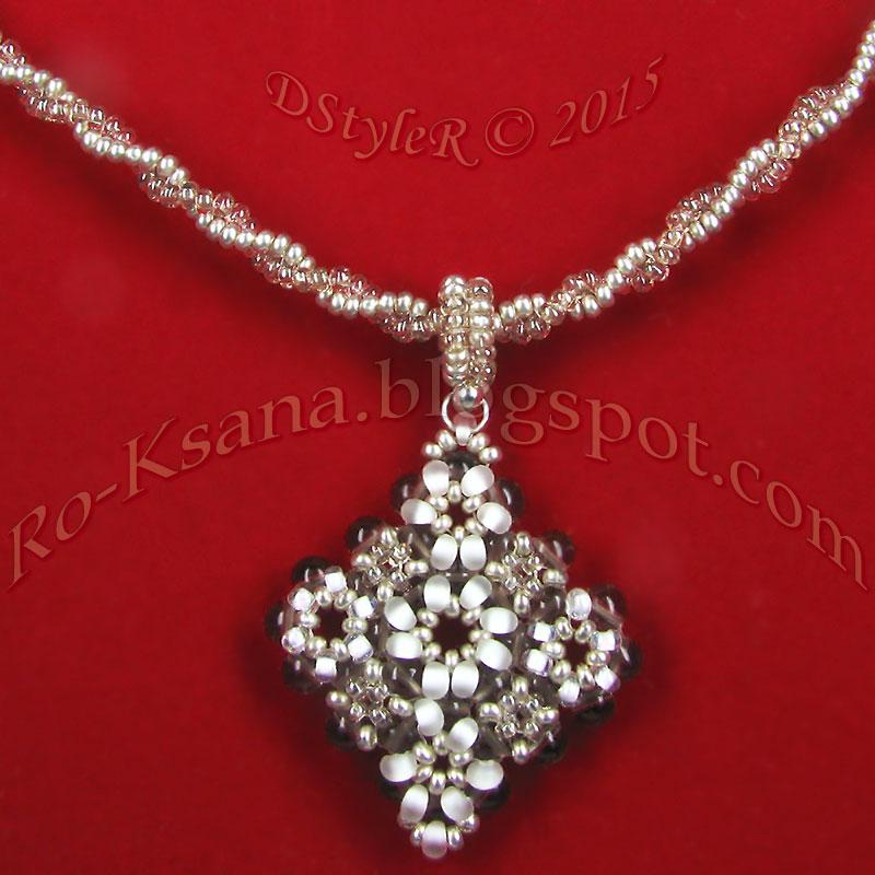 """Silvery Snowdrops"" Beaded pendant   RAW & 2-beads Twisted Herringbone rope Расшивка кулона ""в крестик"" и спиральный жгут"
