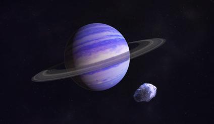 ilustração de um exoplaneta com a massa de Netuno