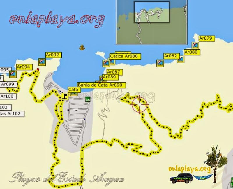 Mapa de Playas de Bahia de cata