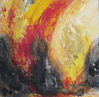 """""""Feuer"""", Acryl auf Holz, Feuer, 50x50, 2008"""