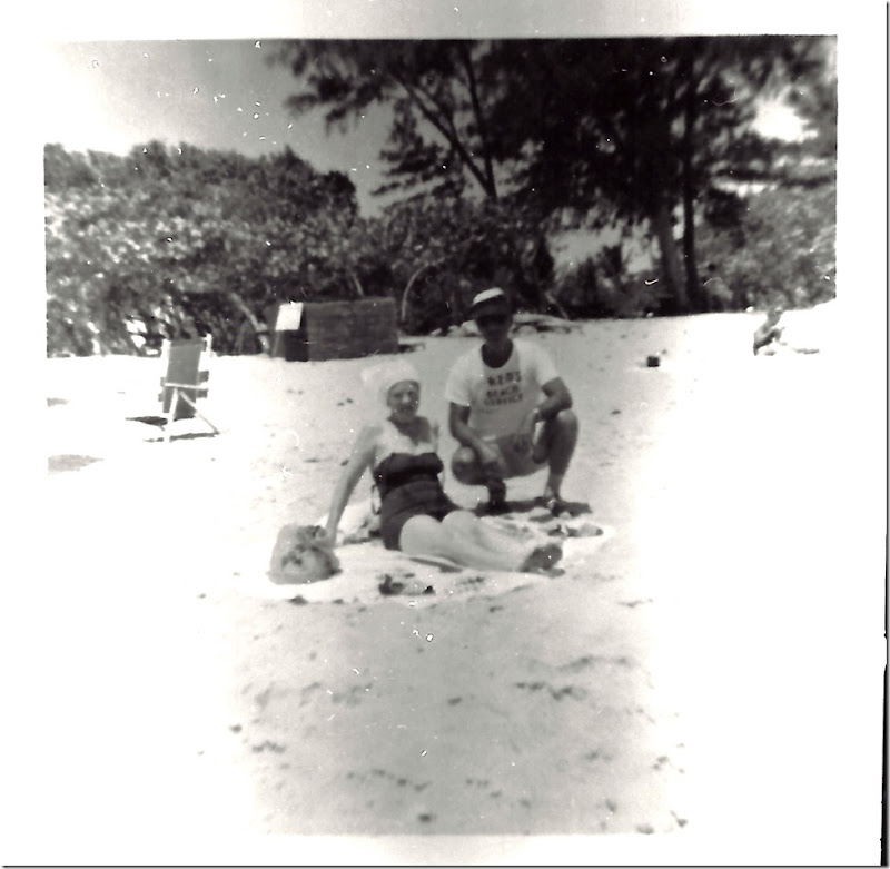 GOULD_Norman & Marie_on beach 1960-65 in PompanoBchFL_ehnhanced