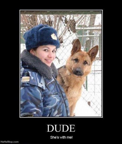 photo of girl and a dog and the dog saying: dude, she's with me