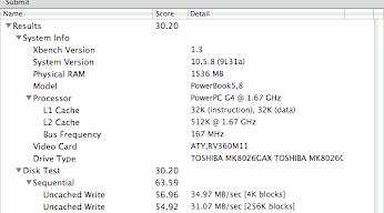 PowerBookG4 HDD起動ベンチマーク
