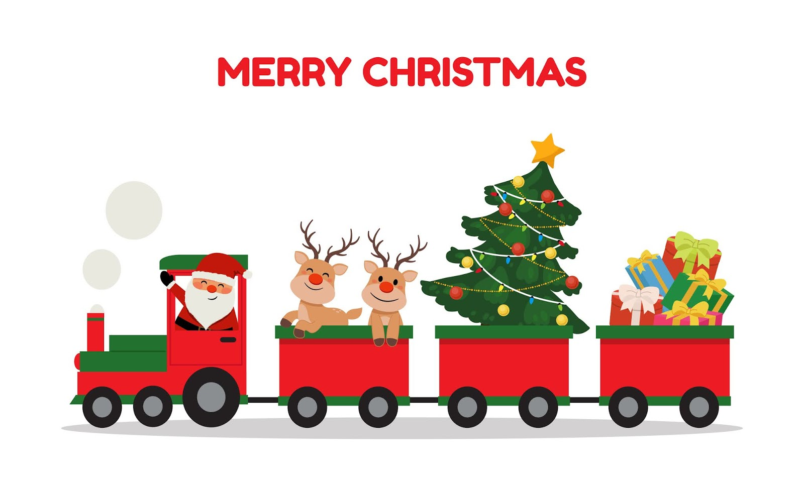 Cute Santa Reindeer Riding Christmas Train Winter Holiday Clip Art Train Carrying Presents Christmas Tree Flat Vector Cartoon Style Isolated Free Download Vector CDR, AI, EPS and PNG Formats
