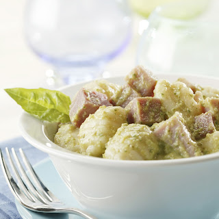 Asparagus Pesto with Gnocchi and Ham.