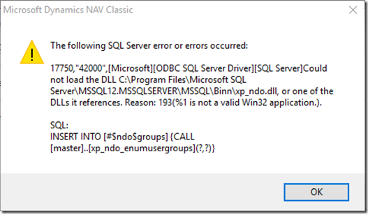 Could not load xp_ndo dll Error while accessing Navision