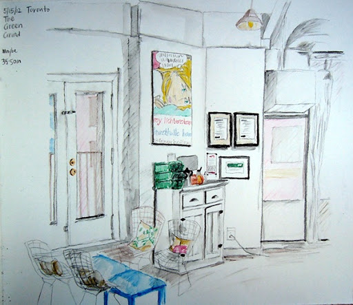 Coffee-shop sketch with watercolor pencils and brush, Toronto, May 2012. Artist Lisa Hsia