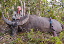 Derek Stimpson from the UK with a great old buffalo bull shot on the edge of thick bush after he charged. Derek used my lovely old Westley Richards in 404 Jeffery to stop the bulls charge.