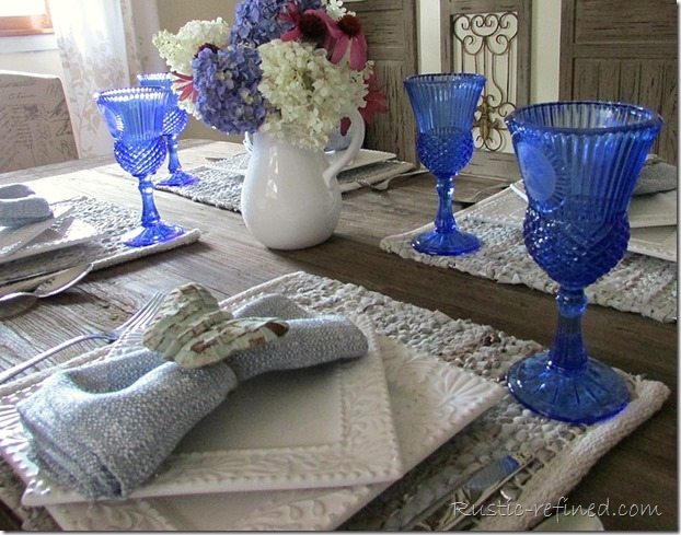 Setting a blue and white tablescape