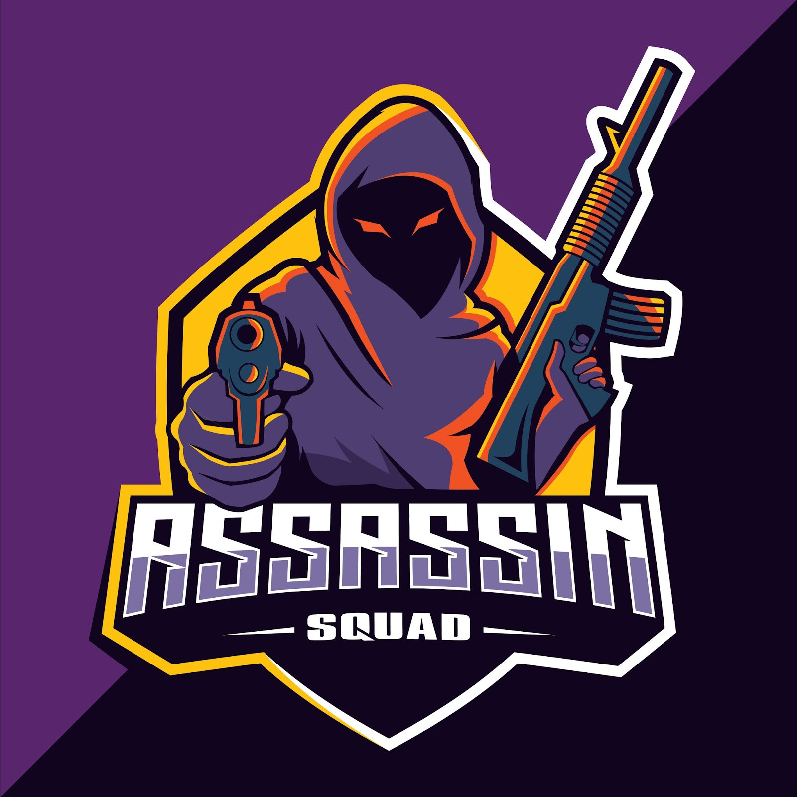 Assassin With Guns Mascot Esport Free Download Vector CDR, AI, EPS and PNG Formats