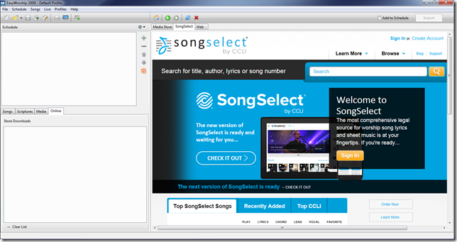 EWorship 2009 SongSelect Window - Pre-Fix - SS Classic