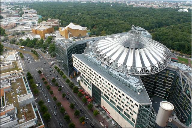 Sony Center y Tiergarten desde la torre Kollhoff-Hochhaus - Berlín'15