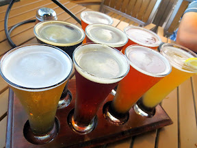 Oggi's Pizza and Brewing, San Diego, California, sampler tray, beer sample