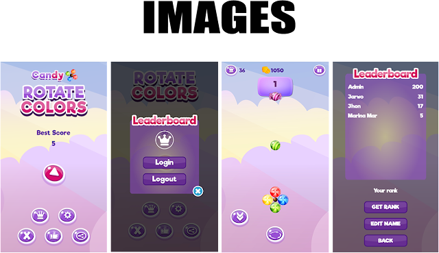 Candy Rotate Colors (Construct 3 | HTML5 Game | Leaderboard | Admob) - 2