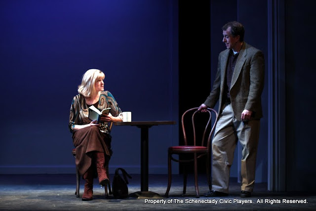 """Cristine M. Loffredo and Tim Orcut in """"Sure Thing"""" as part of THE IVES HAVE IT - January/February 2012.  Property of The Schenectady Civic Players Theater Archive."""