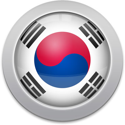 South Korean flag icon with a silver frame