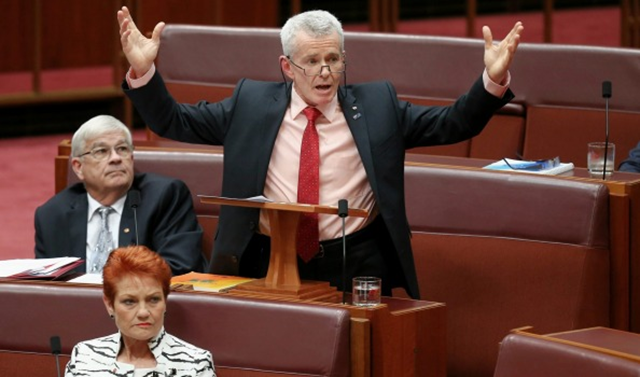 Australia Senator Malcolm Roberts from Pauline Hanson's One Nation party delivers his first speech in the Senate at Parliament House in Canberra on 13 September 2016. Photo: Alex Ellinghausen Alex Ellinghausen