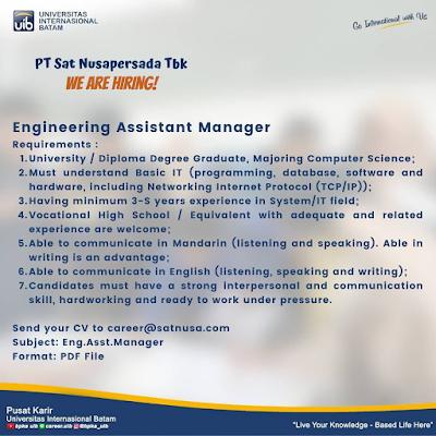 PT Sat Nusapersada Tbk Dibuka untuk Posisi Engineering Assistant Manager