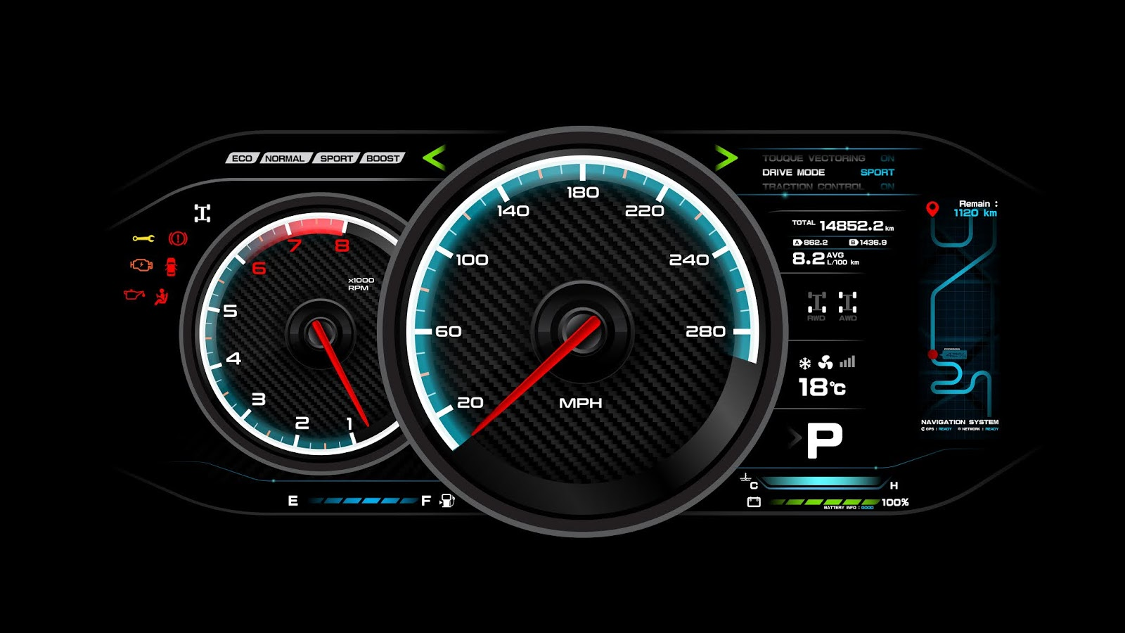 Car Dash Board Vector Illustration Free Download Vector CDR, AI, EPS and PNG Formats
