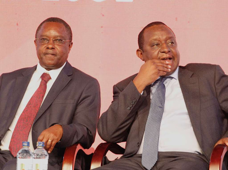 State Department of Planning PS Julius Muia and National Treasury CS Henry Rotich during the launch of 2019 KNBS economic survey in Nairobi on April 25,2019.
