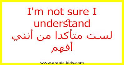 I'm not sure I understand لست متأكدا من أنني أفهم