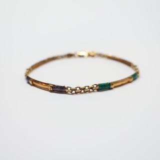 14K Gold & Enamel Bracelet