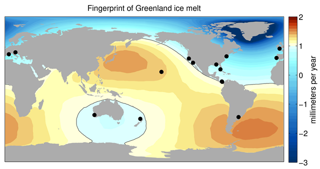 Sea level change resulting from Greenland ice melt, derived from NASA GRACE measurements. Black circles show locations of the best historical water level records, which underestimate global average sea level rise due to Greenland melt by about 25 percent. Graphic: University of Hawaii / NASA-JPL / Caltech