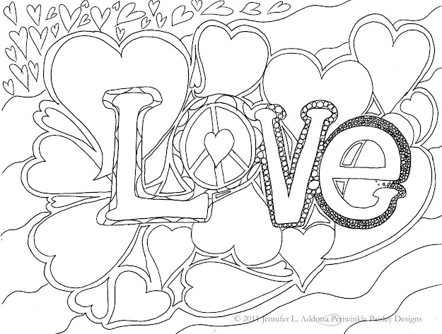 American Hippie  Art Coloring Page  Love