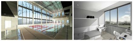 Instalaciones Rafa Nadal Academy, Piscina, Residencia.