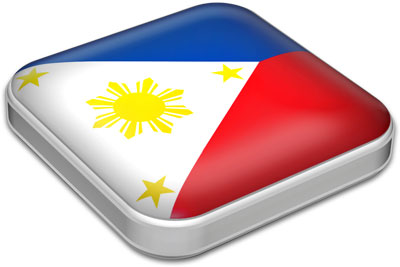 Flag of Philippines with metallic square frame