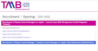 TMB Bank Recruitment 2021 AGM, DGM Posts