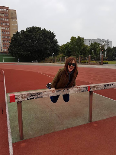 Playing around at the court of Fengjia University in Taichung Taiwan