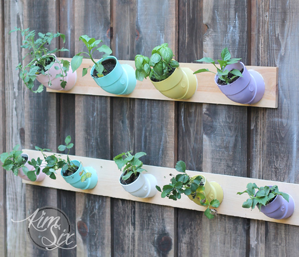 Vertical garden from PVC pipe joints