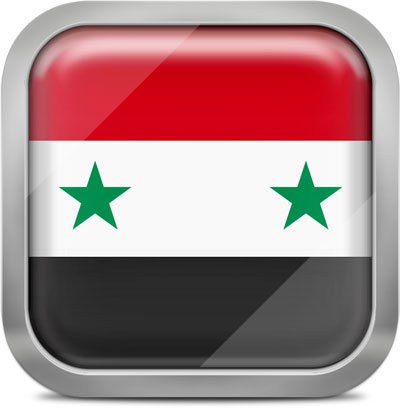 Syria square flag with metallic frame
