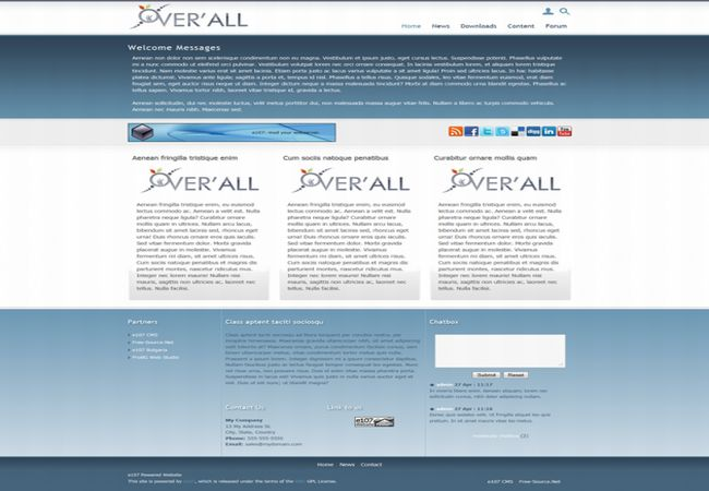 Free Portfolio Business E107 Blue Gray Theme Template