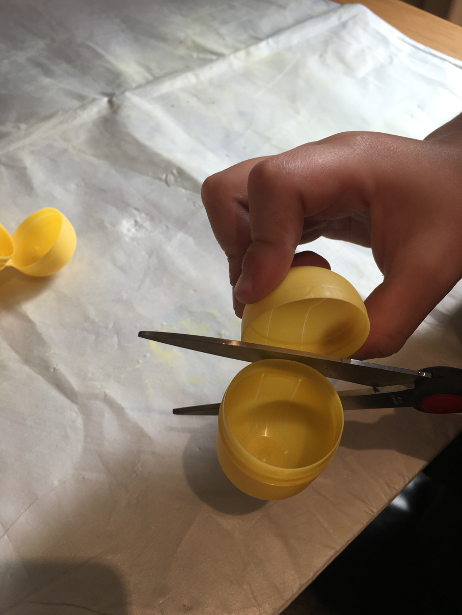 LarabeeUK - kids craft activity, emoji rockets, cut the tops off the kinder eggs