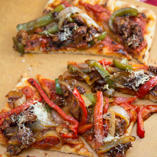 Spicy Italian Sausage and Peppers Pizza.