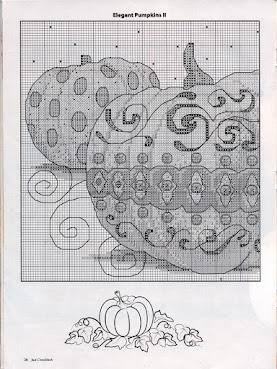 quadro con zucca da ricamare a punto croce - schema quadro zucche  a punto croce (