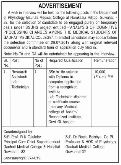 Gauhati Medical College and Hospital Recruitment 2019 Apply