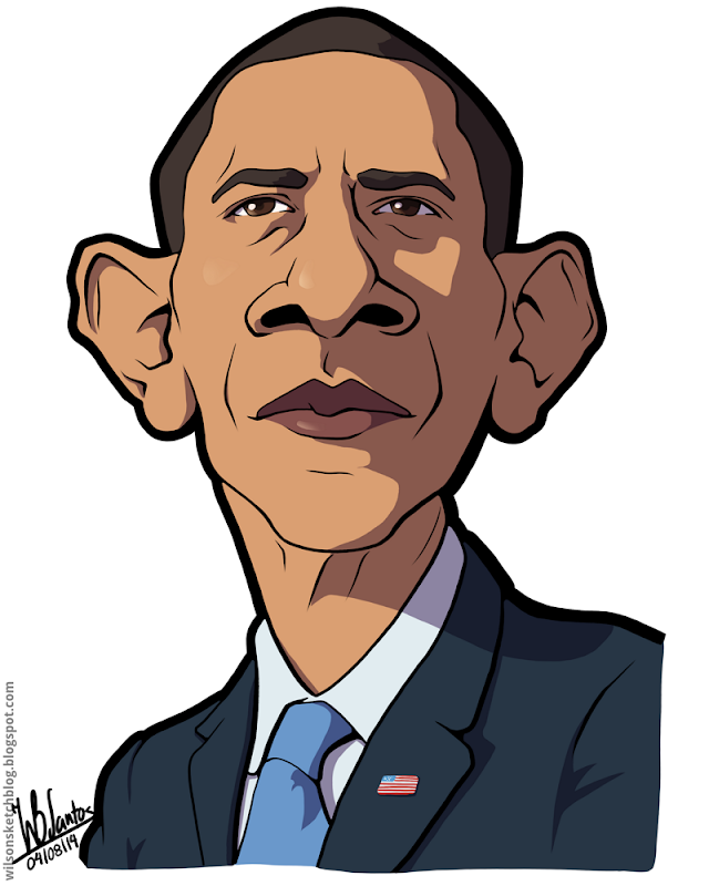 Cartoon caricature of Barack Obama.