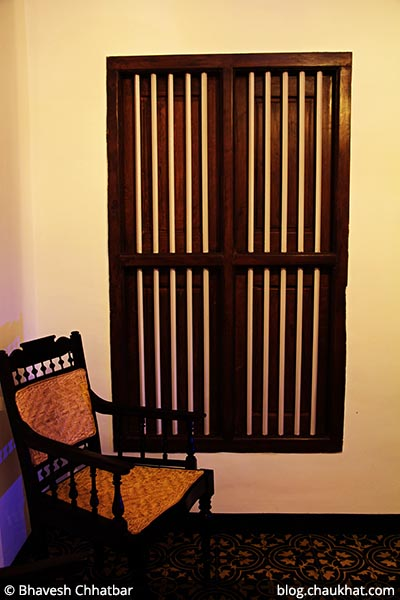 Wooden chair at Savya Rasa [Koregaon Park, Pune]