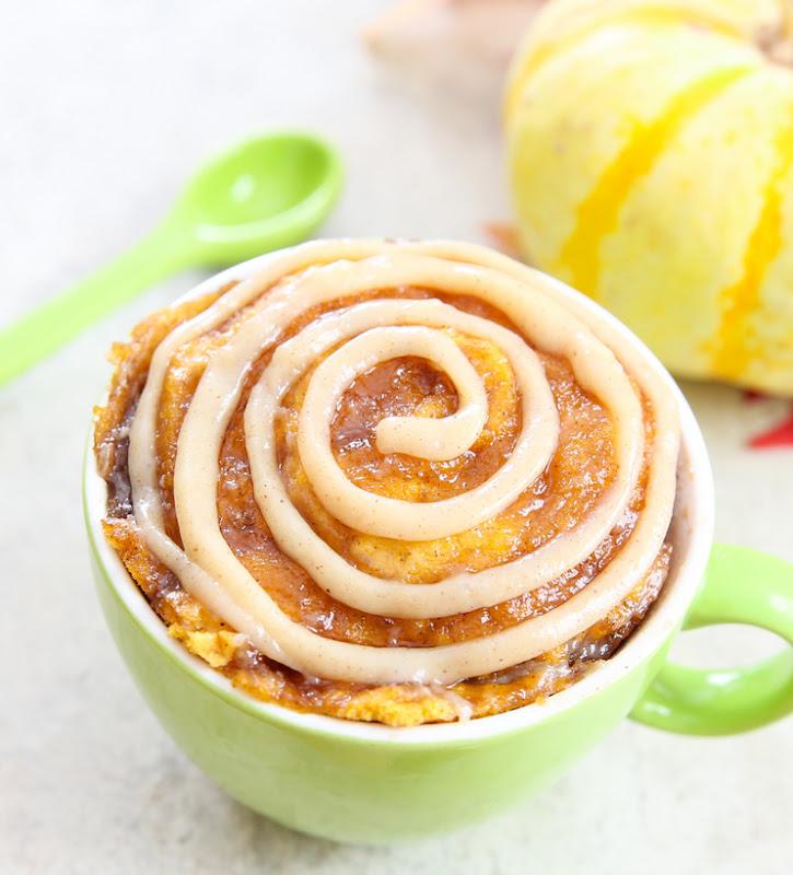close-up overhead photo of a Pumpkin Cinnamon Roll Mug Cake