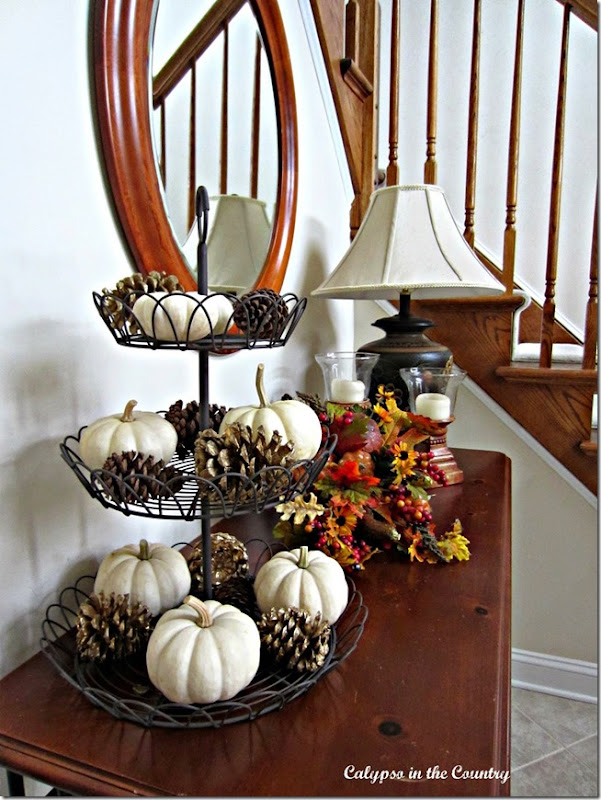 Tiered Tray Feature White-pumpkins-and-pine-cones